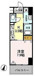 東武伊勢崎線 越谷駅 徒歩5分の賃貸マンション 2階1Kの間取り