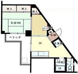 サンロードビル 5階1DKの間取り