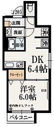京王線 八幡山駅 徒歩5分の賃貸マンション 2階1DKの間取り