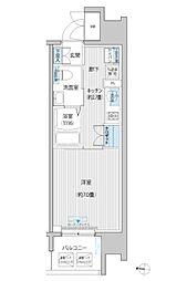 JR南武線 武蔵新城駅 徒歩6分の賃貸マンション 8階1Kの間取り
