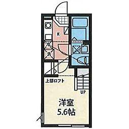京王線 北野駅 徒歩10分の賃貸アパート 2階1Kの間取り