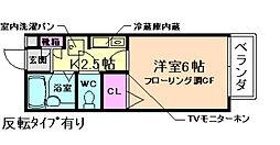 兵庫県宝塚市山本東1丁目の賃貸アパートの間取り