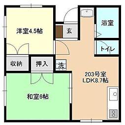 神奈川県横浜市青葉区さつきが丘の賃貸マンションの間取り