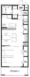 JR武蔵野線 越谷レイクタウン駅 徒歩8分の賃貸マンション 3階1LDKの間取り