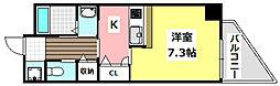 マンションクォーレ 2階1Kの間取り