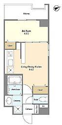 福岡市地下鉄空港線 西新駅 徒歩7分の賃貸マンション 2階1LDKの間取り