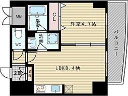 サンレムート新大阪イーストII 2階1LDKの間取り
