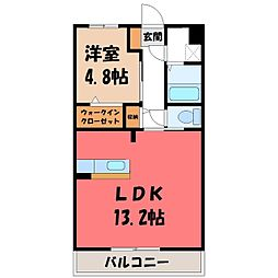 東武宇都宮線 西川田駅 徒歩13分の賃貸マンション 4階1LDKの間取り