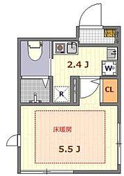ザ・ルームス羽田 3階1Kの間取り