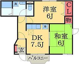 千葉県佐倉市西志津8丁目の賃貸アパートの間取り