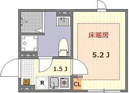 ザ・ルームス羽田 2階1Kの間取り