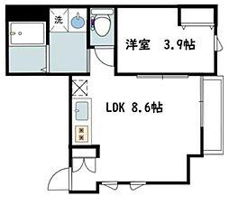 カバリーノ小田原 3階1LDKの間取り