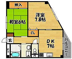 阪急京都本線 上新庄駅 徒歩9分の賃貸マンション 3階2DKの間取り