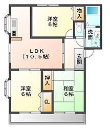 愛知県岡崎市北野町字郷裏の賃貸マンションの間取り
