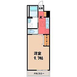 JR東北本線 小山駅 徒歩11分の賃貸アパート 1階1Kの間取り