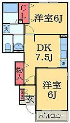 京成本線 京成臼井駅 徒歩24分の賃貸アパート 1階2DKの間取り