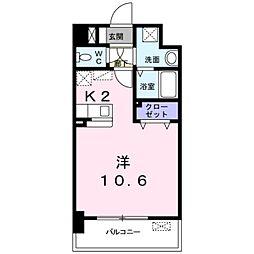 JR篠栗線 柚須駅 徒歩15分の賃貸アパート 4階ワンルームの間取り