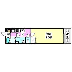 阪急京都本線 正雀駅 徒歩10分の賃貸マンション 3階1Kの間取り