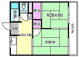 奥野ハイツC棟[2階]の間取り
