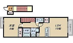 大阪府堺市北区蔵前町3丁の賃貸アパートの間取り
