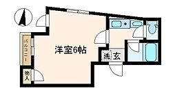 中野弥生町Apti 2階1Kの間取り