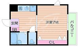 大阪府箕面市粟生間谷西3丁目の賃貸アパートの間取り