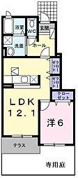 JR五日市線 武蔵五日市駅 徒歩12分の賃貸アパート 1階1LDKの間取り
