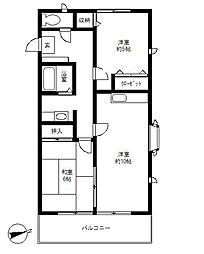 東京都世田谷区駒沢5丁目の賃貸アパートの間取り