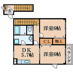 滋賀県高島市新旭町旭1丁目の賃貸アパートの間取り