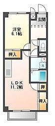愛知県田原市片西3丁目の賃貸アパートの間取り