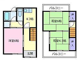 [一戸建] 大阪府松原市東新町2丁目 の賃貸【/】の間取り