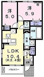 アイリス 1階2LDKの間取り