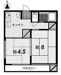 福岡県糸島市高田1丁目の賃貸アパートの間取り