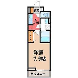 パレ・ドュ・アムール 3階1Kの間取り