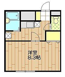 東武東上線 川越市駅 徒歩14分の賃貸アパート 1階1Kの間取り
