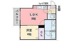 ジュネス下山門 3階1LDKの間取り