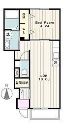 神奈川県藤沢市長後の賃貸アパートの間取り