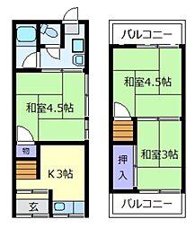 [テラスハウス] 大阪府松原市東新町2丁目 の賃貸【/】の間取り