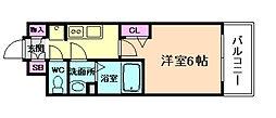 阪急神戸本線 中津駅 徒歩3分の賃貸マンション 2階1Kの間取り
