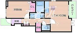 大阪府箕面市粟生新家2丁目の賃貸アパートの間取り