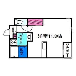 Osaka Metro谷町線 喜連瓜破駅 徒歩8分の賃貸アパート 2階ワンルームの間取り