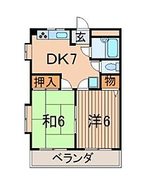 神奈川県横浜市港南区野庭町の賃貸マンションの間取り