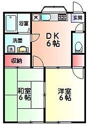 神奈川県横浜市緑区いぶき野の賃貸アパートの間取り