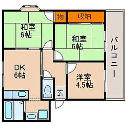 滋賀県長浜市十里町の賃貸アパートの間取り