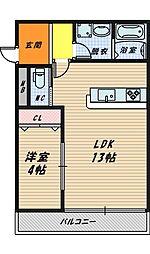 大阪府大阪市城東区蒲生2丁目の賃貸アパートの間取り