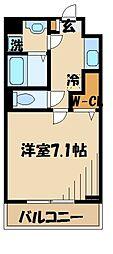 京王線 仙川駅 バス10分 北野公園下車 徒歩7分の賃貸マンション 2階1Kの間取り