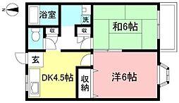 JR中央線 国分寺駅 徒歩8分の賃貸アパート 1階2Kの間取り