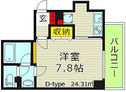 アクティコート京橋 7階1Kの間取り