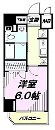 JR中央線 国立駅 徒歩2分の賃貸マンション 9階1Kの間取り