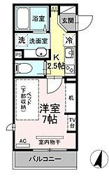 ライズ生田 3階1Kの間取り